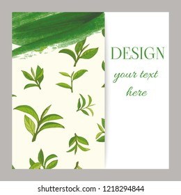 banner design with tea leaves hand-drawn