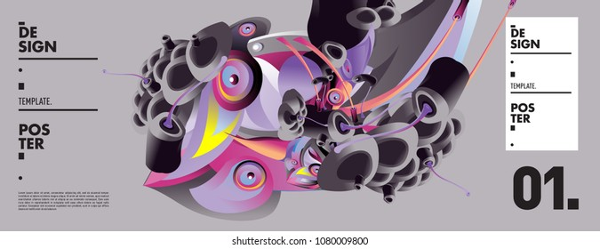 Banner design template with abstract curvy colorful shape. Vector colorful illustration for background in eps10