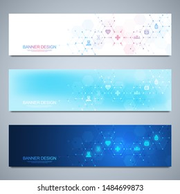 Banner design template. Concept and idea for health care business, medical research, healthcare technology, science with medicine icons and symbols.