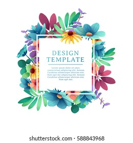 Banner design template with floral decoration. The square frame with the decor of flowers, leaves, twigs. Invitation with place for text on a background summer bouquet. Vector.