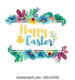 Banner design template with floral decoration for spring Easter. Frame with the decor of flowers, leaves, twigs. Invitation with logo for easter holiday with silhouette rabbit and a chicken. Vector.