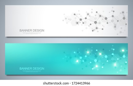 Banner design template with molecules background, genetic engineering, molecular structure, neural network. Concepts and ideas for science, medicine, health care business and innovation technology