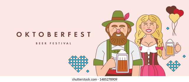 Banner design template to Oktoberfest festival. Man and girl wearing Bavarian dress dirndl. Flat vector illustration