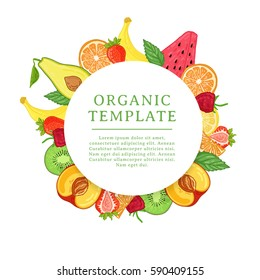 Banner design template with tropical fruit decoration. Round frame with the decor of healthy, juicy fruit. Card with space for text on the background natural summer vegetarian food. Vector.