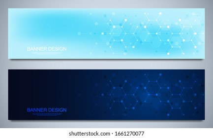 Banner design templates and headers for site with molecular structures background and chemical engineering. Science, medicine and innovation technology concept.