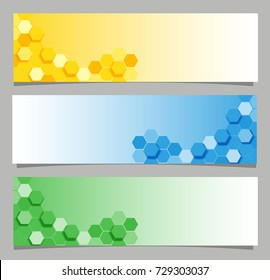 Banner designs with hexagon in three colors illustration