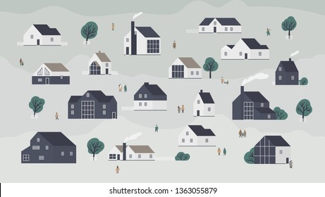 Banner with different houses in Scandic style or cottages of modern Scandinavian architecture and town dwellers. Background with village, suburb or neighborhood. Flat cartoon vector illustration.