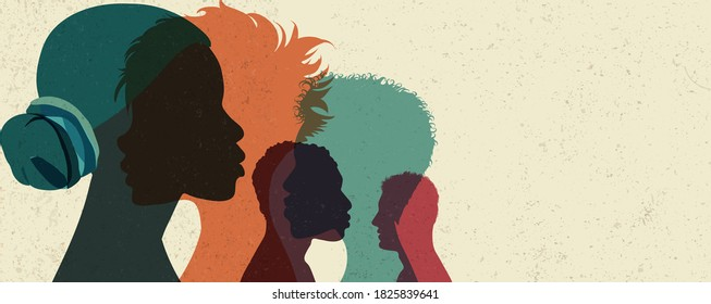 Banner Diversity multi-ethnic and multiracial people poster. Silhouette profile group of men and women of diverse culture.Concept of racial equality and anti-racism.Multicultural society