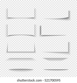 Banner, divider, website border shadow 3d effects with transparent edges