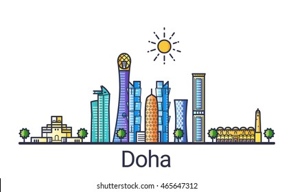 Banner of Doha city skyline in flat line trendy style. Doha city line art. All buildings separated and customizable.