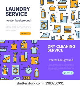 Banner for dry cleaning concept with outline icons for laundry, dry cleaning, housekeeping services. Flat vector design. Modern graphic design. Home appliance. House laundry. Laundry detergent.
