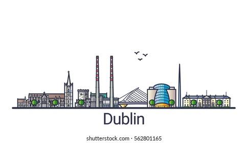 Banner der Stadt Dublin in flachem, trendigem Stil. Dublin City Line Art. Alle Gebäude getrennt und individuell einstellbar.