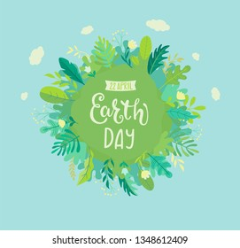 Banner for Earth Day for environment safety celebration. Green planet with grown plants, leaves and hand drawn lettering for cards, posters, advertise.Eco friendly world.Ecology concept.Vector