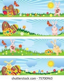 Banner for Easter with the hare and egg with flowers, butterflies and a place for text.