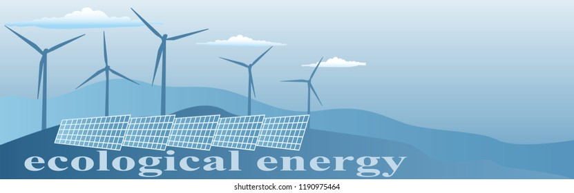 banner of ecological energy in blue tones