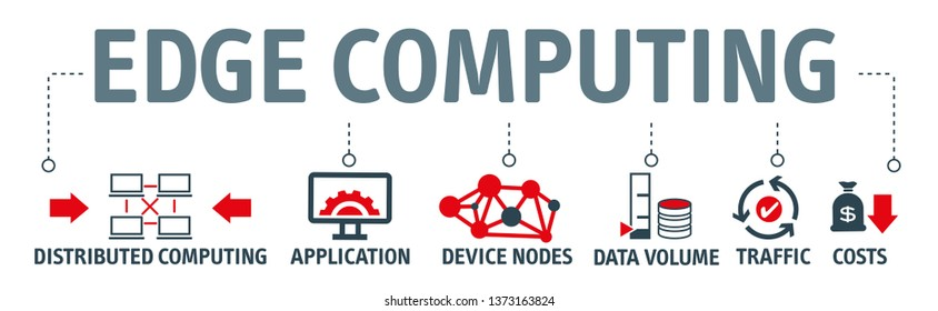 Banner EDGE Computing Information Technology Vector Illustration Concept with icons and the keywords distributed computing, application, device nodes, data volume, traffic, costs.