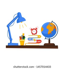 Banner with education supplies. Back to school. Stack of books, globe, lamp, stand with pencils and wake up clock. Alarm clock is ringing. School desk. Vector illustration in flat style.