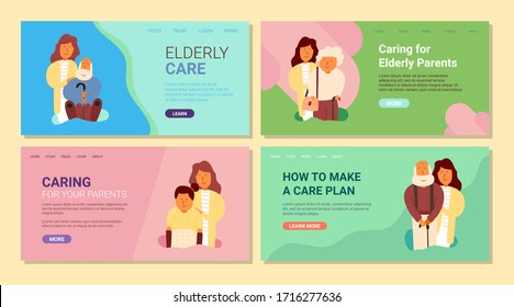 Banner, elderly care, caring for elderly parents. Inscription how to make care plan. Set, adult daughter supports elderly parents. Quarantine elderly people at home.