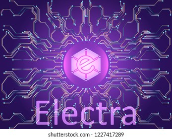 Banner electra and dark blue background . Stock illustration. Crypto currency symbol