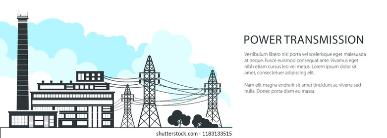 Banner of Electric Power Transmission, Power Station and High Voltage Power Lines Supplies Electricity to City, Vector Illustration