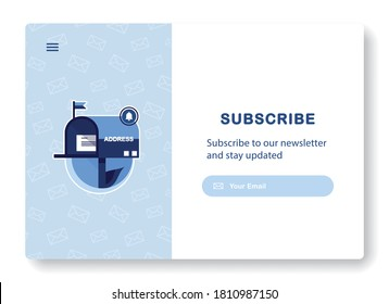Banner of email marketing. Subscription to newsletter, news, offers, promotions. Mailbox with a letter and envelope. Sending to the recipient address. Message sent. Popping window. Blue. Eps 10