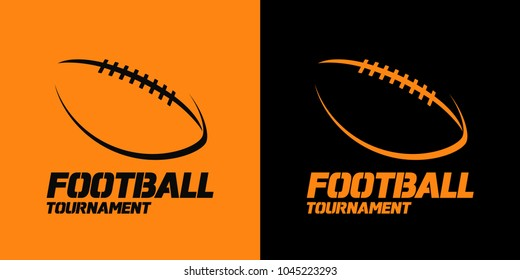 Banner or emblem design with American Football ball silhouette icon. Vector illustration