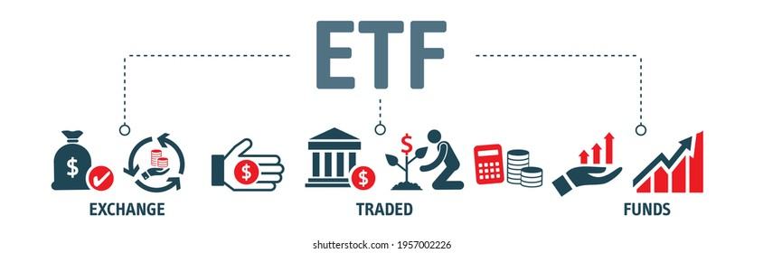 Banner ETF Concept. ETFs Exchange Traded Funds Stock Market Investment vector icons