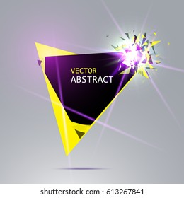 Banner with explosion of black and yellow pieces, rays of lights, on background. Vector illustration