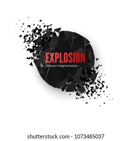 Banner Explosion  Simulation. Explode and destruction. Circle shatter effect. Vector illustration isolated on whide background