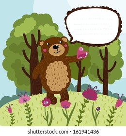 ?ute banner with fairy bear & place for text