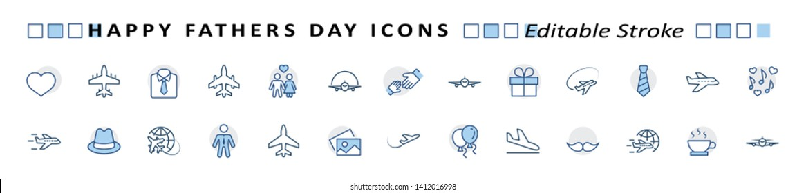 Banner Father's Day Set Line Vector Icon. Cover Contains such Icons as Father, Family, Mustache, Dad, Tie, Shirt, Handshake, Hat, Coffee, Purse, Gift, Portfolio, Love and more. Editable Stroke