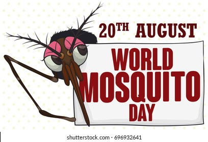 Banner with female mosquito behind a greeting sign with reminder date for World Mosquito Day in August 20.
