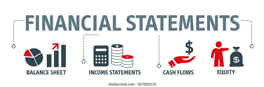 Banner financial statements concept vector illustration
