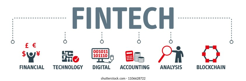 Banner Fintech Internet Concept. text and Investment Financial Technology vector icons