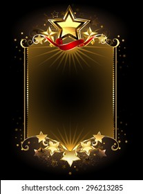 Banner with five gold stars on dark background.