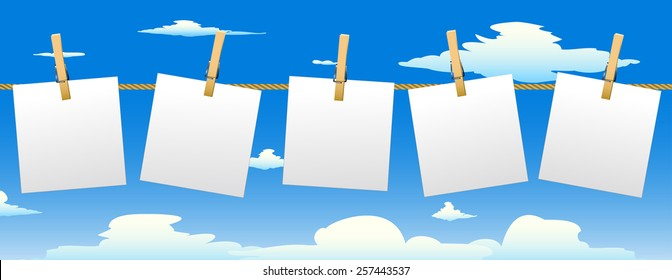 Banner with five paper notes hanging on rope.Vector illustration.
