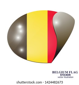 Banner with flag of Belgium. Colorful illustration with flag for web design. Illustration with white background.
