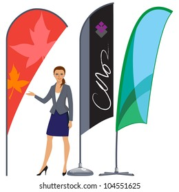 Banner flag set for marketing and advertising with a welcoming professional female business woman.