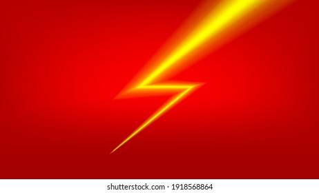 banner flash sale with thunder light on red for shopping background, vector
