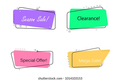 Banner flat design isolated on white background.For web site,banner design, sticker template,badge.Useful for placard,cards and poster.Collection of creative banner, modern concept.Vector illustration