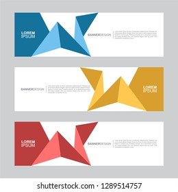 BANNER. Flat geometric shape, minimal concept background. Business and corporate horizontal banner vector template.