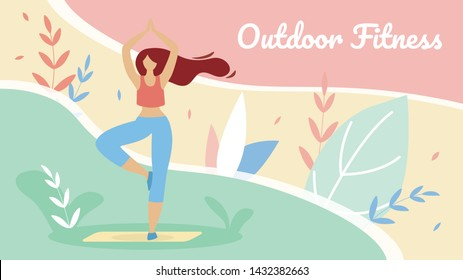 Banner Flat Productive Outdoor Fitness Lettering. Flyer Fitness Involves Healthy Eating. Girl Goes in for Sports Outside in Summer Park. Concentration and Balance. Vector Illustration.