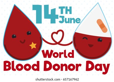 Banner in flat style with cute drop transfusing blood to other wounded partner in World Donor Day celebration.