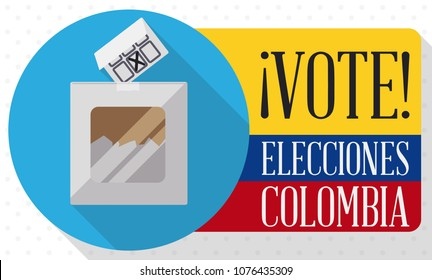 Banner in flat style and long shadow with button and flag that promote the vote in the next electoral process in Colombia (written in Spanish) and electoral box and card.