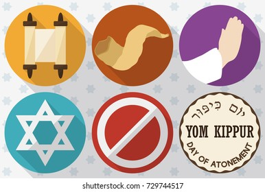 Banner in flat style and long shadow with colorful icons to celebrate Yom Kippur (or Day of Atonement, written in Hebrew): scrolls, shofar horn, hands praying, David's star, symbol of abstinence.