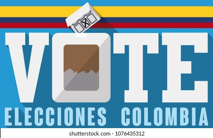 Banner in flat style to promote electoral process in Colombia (written in Spanish) with flag, electoral box and card with candidate chosen.