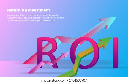banner flat style vector illustration. business arrow target direction concept to success. chart increase profit. Return on investment ROI. Return on equity ROE, Return on Assets ROA