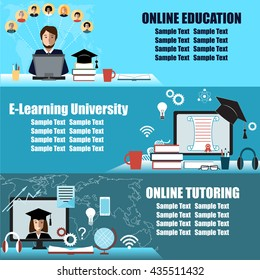 Banner or flier design for online education event. E-learning, distance education, or virtual university background set. Design elements for distance tutorials and education.