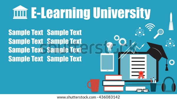 Banner Flier Design Online Education Event Stock Vector Royalty Free 436083142