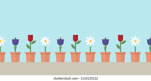 Banner with Flower Variations and Copy Space: Daisy, Blue Bell and Rose Illustration Minimal Flat Design